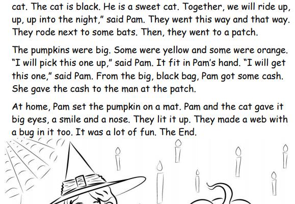 Halloween 1st grade phonics story